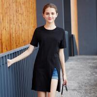 [1件2.5折价30.4元]唐狮夏装新款T恤女素色圆领套头短袖T恤韩版学生短袖女