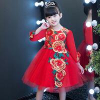 公主裙花童演出服 儿童旗袍唐装长袖女童蓬蓬裙红色大童生日晚礼服 红 色