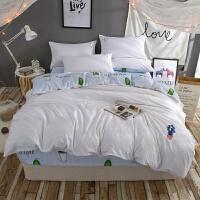 清新仙人掌刺绣被套床上棉四件套床单床笠1.8单双人三件套