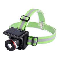 强光充电头灯太阳能头戴式水远射LED手电筒 图片色