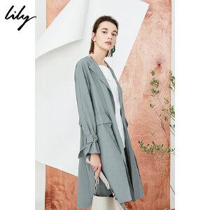 【每满200减100】Lily2018秋新款风衣女装商务通勤灰色系带中长款轻薄风衣118130C1221