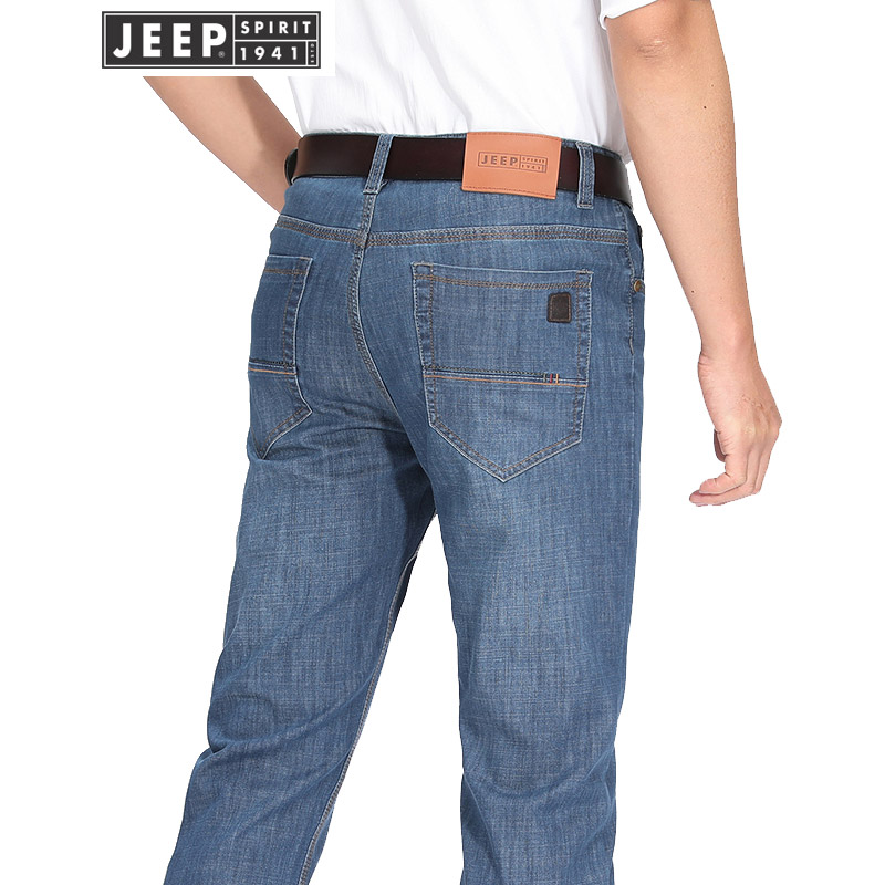 JEEP吉普2018新款牛仔裤男直筒修身长裤中腰斜插兜男牛仔裤休闲宽松男裤子