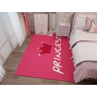 儿童房卡通动漫儿童地毯地垫卧室床边满铺可爱 房间幼儿园爬行垫 玫红色 皇冠