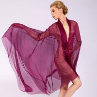 时尚女士桑蚕丝丝巾百搭新款纯色大规格真丝丝巾围巾披肩两用 可礼品卡支付