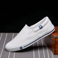 韩版帆布鞋男士懒人鞋一脚蹬学生鞋透气百搭休闲布鞋男鞋子小白鞋