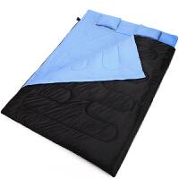 双人情侣 春秋冬季加厚户外露营睡袋 含两个枕头AT6119 黑蓝 双人