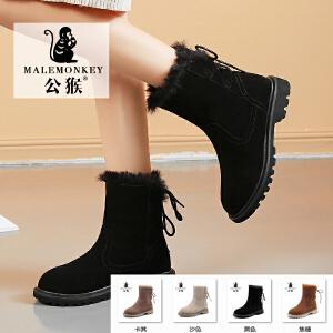 公猴真皮爆款雪地靴女冬季新款加绒短靴舒适时尚中筒真皮加厚棉鞋韩版百搭棉靴