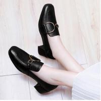 古奇天伦秋冬季小皮鞋英伦风粗跟单鞋新款中跟女鞋子韩版百搭CDE8891