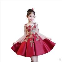 儿童走秀礼服公主裙女童小主持人长袖蓬蓬裙钢琴演出服生日晚礼服