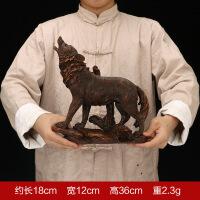 欧式树脂工艺品狼摆件 北方狼图腾 家居客厅电视柜书房装饰品批发 狼王檀木色