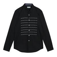 【2件5折57元】唐狮衬衫休闲 男长袖衬衫