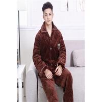 新款冬季三层加厚棉袄 法兰绒夹棉男士睡衣保暖家居服