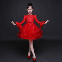 儿童礼服长袖公主裙女童礼服 春夏连衣裙中大童女孩蓬蓬裙花童礼服 红色