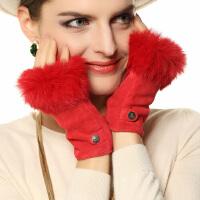 时尚女士手套可爱半指兔毛口保暖加绒羊皮手套女真皮手套潮 可礼品卡支付