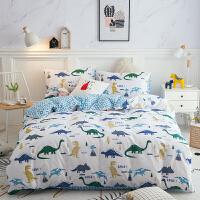 家纺卡通小恐龙儿童棉床品套件棉床上用品三件套被套枕袋