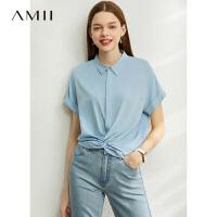 【券后预估价:108元】Amii极简港味学院风短袖衬衫2020夏季新款宽松衬衣洋气扭结上衣女