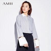 【3折到手价130元】Amii极简欧货潮个性小清新镂空衬衫女2018秋新款宽松条纹纯棉上衣