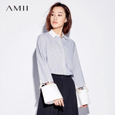 【大牌清仓 5折起】Amii[极简主义]镂空绑带衬衫女秋装新款宽松条纹上衣