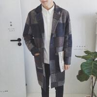香港潮牌秋冬季帅气男士中长款风衣英伦范格子毛呢大衣男装潮外套