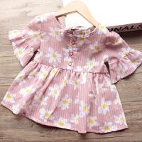 女童喇叭袖娃娃衫裙2018夏季新款女宝宝甜美花朵打底衫上衣短裙子