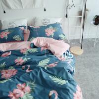 家纺春秋北欧纯棉1.2三件套床上用品全棉田园鸟四件套1.8床笠1.5被罩 夏日火鸟-蓝