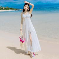 20180302111409999夏季女装白色露背雪纺连衣裙海边度假吊带沙滩裙波西米亚长裙 白色