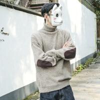 日系男装冬季复古百搭线衫宽松半高领毛衣男生线衣加厚套头针织衫