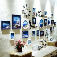 简约现代地中海风格照片墙装饰相框挂墙创意个性组合相框墙连体挂