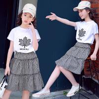 女童套装裙新款中大童夏装儿童短袖裙子两件套