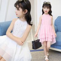 花样童依 童装2018夏季新款韩版女童连衣裙中大童雪纺钉珍珠裙子儿童纱裙