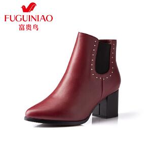 富贵鸟 秋季新款女鞋粗跟单鞋英伦高跟鞋