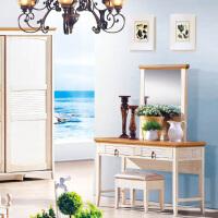 尚满 地中海系列梳妆台/凳 卧室家具 水曲柳实木框梳妆台/凳 仿古白