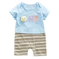 夏装婴儿连体衣短袖爬服6-12个月新生儿拼接条纹薄款哈衣