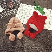 婴儿帽子0-3-6-个月护耳帽保暖秋冬女宝宝帽子韩版潮儿童套头帽