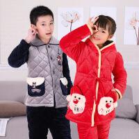 秋冬季儿童睡衣加厚款男童女童法兰绒小孩三层夹棉珊瑚绒宝宝套装