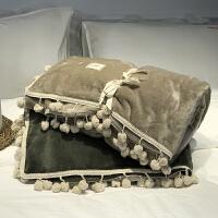 家纺毛毯被子 加厚保暖珊瑚绒毯冬季法莱绒毯办公室小毛毯球球款