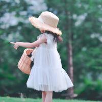 女童公主连衣裙蓬蓬裙2018两件套白色纱裙生日礼服仙 现货发