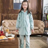 秋季中大童家居服套装儿童睡衣秋冬季女童法兰绒珊瑚绒长版女孩子