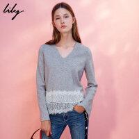 【每满200减100】Lily2018冬新款女装淑女蕾丝拼接毛衣V领显瘦毛衣117410B8702