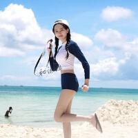 韩版少女游泳衣学生保守长袖高领高腰分体三角遮肚小清新泳装 如图