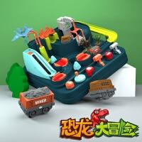 儿童火车轨道玩具 男孩恐龙套装小汽车闯关大冒险生日礼物 恐龙乐园大冒险