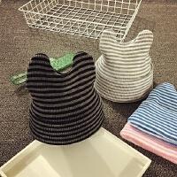 儿童毛线帽秋冬针织帽宝宝帽子1-2岁男女婴儿帽子3-6-个月护耳