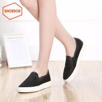 达芙妮集团 鞋柜新款时尚休闲女鞋平底圆头厚底单鞋女
