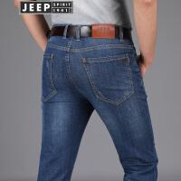 JEEP吉普牛仔裤男2018春季新款直筒牛仔长裤商务休闲柔软棉质男装裤子