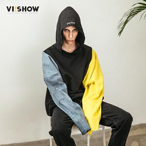 VIISHOW2018春季新款卫衣男 连帽套头男士情侣嘻哈外套 拼接上衣