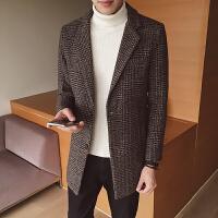 毛呢大衣冬季男士中长款格子风衣男上衣韩版青少年潮流男外套