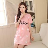 春夏季韩版长袖睡裙女士大码短袖睡裙连衣裙全棉居家睡衣