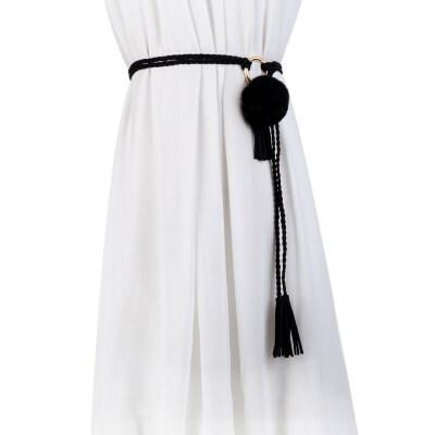 秋冬新品腰链女士细腰带百搭配毛衣装饰连衣裙带编织皮带甜美腰绳