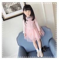 女童长袖连衣裙2018春季新款童装中国风盘扣连衣裙女孩拼接公主裙