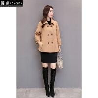 秋冬季韩版毛呢外套女装短款矮小个子纯色羊绒呢子大衣女斗篷风衣